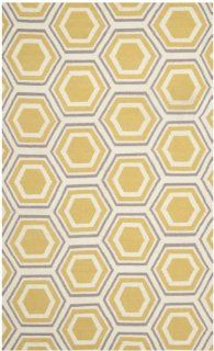 Safavieh DHU202A Dhurrie Collection Handmade Wool Area Rug, 5 Feet by 8 Feet, Ivory and Yellow