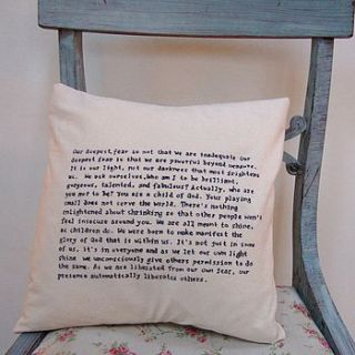 hand written quote/wedding vows cushion by skybluesea