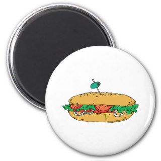 Sandwich Junk Snack Food Cartoon Art Fridge Magnet