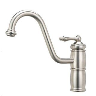 Artisan Satin Nickel Single handle Shepard's Hook Kitchen Faucet with Sidespray Artisan Kitchen Faucets