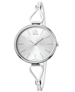 Calvin Klein Watch, Womens Swiss Selection White Leather Cord Strap 38mm K3V236L6   Watches   Jewelry & Watches