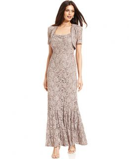 R&M Richards Sleeveless Sequin Lace Gown and Jacket   Dresses   Women