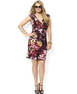 Lauren Ralph Lauren Plus Size Dress, Cap Sleeve Floral Print Ruched Jersey   Dresses   Plus Sizes