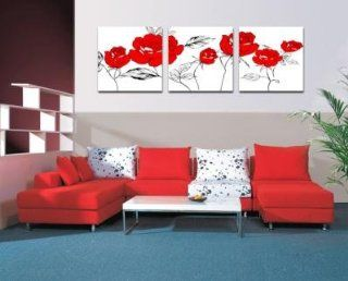 Red Roses Contemporary Modern Wall Decor Decorative Abstract Oil Painting on Canvas 3pc