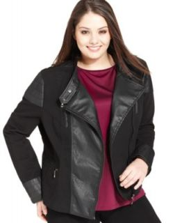 Style&co. Plus Size Faux Leather Quilted Moto Jacket   Coats   Plus Sizes