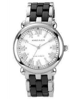 Anne Klein Watch, Womens Black Ceramic Silver Tone Bracelet 38mm AK 1201MPBK   Watches   Jewelry & Watches
