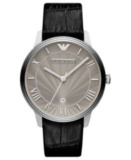 Emporio Armani Watch, Mens Black Croco Leather Strap 41mm AR1611   Watches   Jewelry & Watches