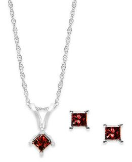 10k White Gold Red Diamond Necklace and Earring Set (1/5 ct. t.w.)   Jewelry & Watches