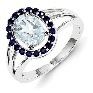 Sterling Silver Aquamarine and Sapphire Oval Ring. Gem Wt  1.24ct Jewelry