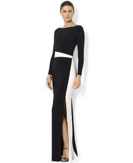 Lauren Ralph Lauren Long Sleeve Colorblocked Gown   Dresses   Women