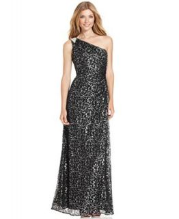 Calvin Klein One Shoulder Glitter Lace Gown   Dresses   Women