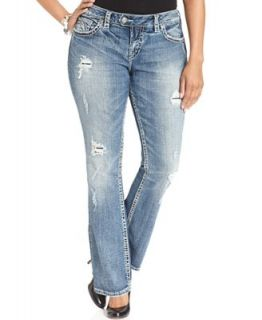 Silver Jeans Plus Size Tuesday Destructed Baby Bootcut Jeans, Indigo Wash   Jeans   Plus Sizes