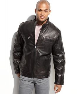 MICHAEL Michael Kors Jacket, Linwood Washed New Zealand Lamb Leather Moto Jacket   Coats & Jackets   Men