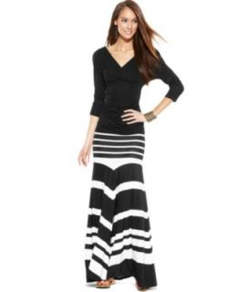 MICHAEL Michael Kors Long Sleeve Belted Maxi Dress   Dresses   Women