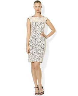 Lauren Ralph Lauren Dress Cap Sleeve Lace Illusion Dress   Dresses   Women
