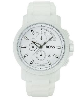 Hugo Boss Watch, Mens Chronograph White Silicone Strap 47mm 1512848   Watches   Jewelry & Watches