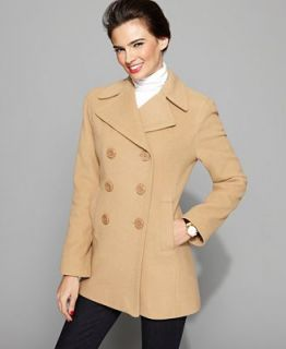 Kenneth Cole Reaction Petite Coat, Notched Collar Wool Blend Pea Coat   Coats   Women