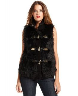 MICHAEL Michael Kors Vest, Faux Fur Toggle Zip Front   Jackets & Blazers   Women
