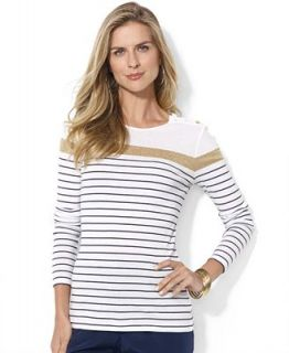 Lauren Ralph Lauren Long Sleeve Striped Button Shoulder Top   Tops   Women