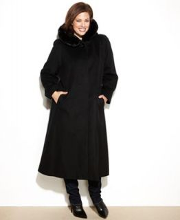Forecaster Plus Size Coat, Hooded Faux Fur Trim Maxi Walker   Coats   Women