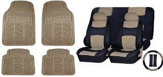 Universal Car Seat Covers Pu Leather Front & Rear & Steering Wheel Set Beige & Black & 4pc Beige All Weather Rubber Floor Mats Sc 165bg+mt 9001bg Automotive