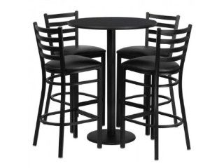 Flash Furniture 30'' Round Black Laminate Table Set with 4 Ladder Back Metal Bar Stools   Black Vinyl Seat   Reception Room Tables