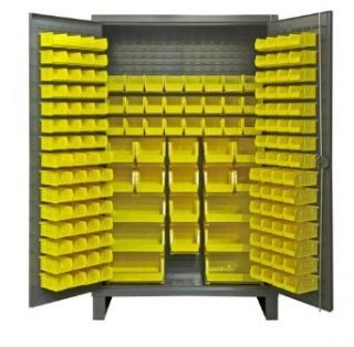 "Durham Extra Heavy Duty Welded 12 Gauge Steel Cabinet With 162 Bins, HDC48 162 95, 24"" Length x 48"" Width x 78"" Height Science Lab Safety Storage Cabinets"
