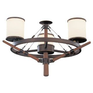 Monte Carlo MC162RB Yachtsman 3 Light Indoor and Outdoor Damp Location Light Kit with 3 Feet Chain and 5 Feet Wire, Roman Bronze   Ceiling Fans