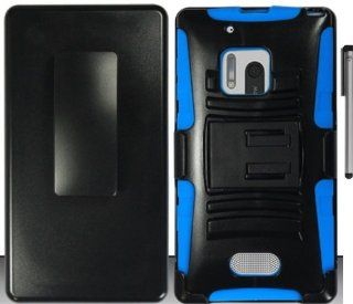 For Nokia Lumia 928 Belt Clip Holster Hybrid Stand Cover Case with ApexGears Stylus Pen (Black Blue) Cell Phones & Accessories