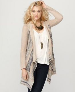 Free People Sweater, Cozy Kisses Open Front Long Sleeve Striped Cardigan   Sweaters   Women