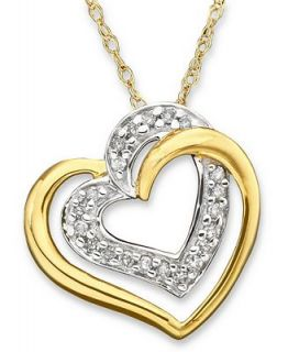 Diamond Necklace, 14k Gold Diamond Heart Pendant (1/10 ct. t.w.)   Necklaces   Jewelry & Watches