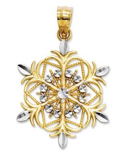 14k Gold and Sterling Silver Charm, Snowflake Charm   Jewelry & Watches