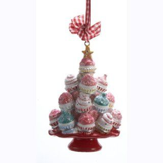 "3.75"" Cupcake Heaven Sugared Tree on Red Plate Christmas Ornament   Kurt Adler Christmas Ornaments"