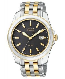 Citizen Mens Eco Drive Two Tone Stainless Steel Bracelet Watch 40mm BM6734 55E   Watches   Jewelry & Watches