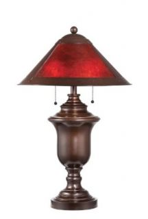 Lite Source LS 21438 Gilson 2 Light Table Lamp, Dark Bronze, Red Mica Shade
