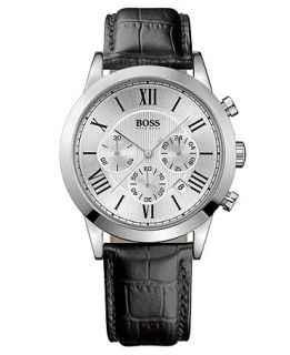Hugo Boss Watch, Mens Chronograph Black Croc Embossed Leather Strap 1512573   Watches   Jewelry & Watches