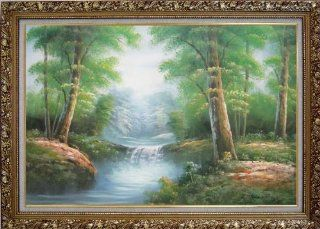 Mountain Water Cascade in Early Spring Large Oil Painting, with Ornate Gold Wood Frame 30x42 Inch