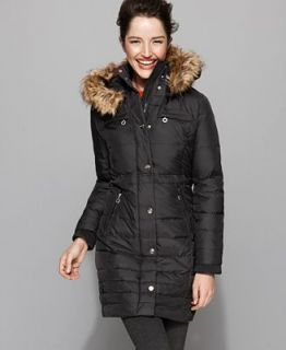 DKNY Coat, Faux Fur Trim Hooded Quilted Down   Coats   Women