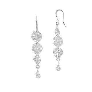 "Italian Designer 14k White Gold Earrings  Curved Mesh 2"" (52mm) long Dangling Circles Large (L) Size  NO Sales TAX exc. MA + FREE Christmas GIFT WRAP TODAY at checkout Jewelry"