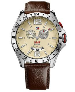 Tommy Hilfiger Mens GMT Brown Leather Strap Watch 46mm 1790973   Watches   Jewelry & Watches