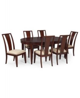 Prescot Dining Room Furniture, 7 Piece Set (Round Table and 6 Slat Back Chairs)   Furniture