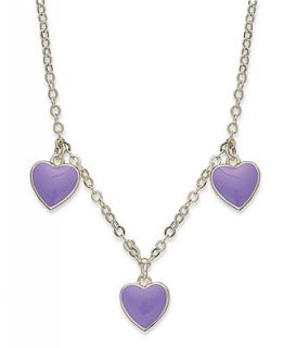 Lily Nily Childrens 18k Gold over Sterling Silver Necklace, Purple Enamel Heart Station Necklace   Necklaces   Jewelry & Watches