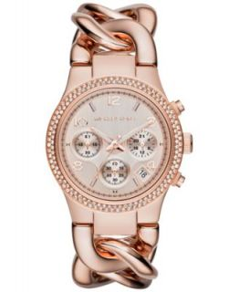 Michael Kors Womens Chronograph Camille Rose Gold Tone Stainless Steel Bracelet Watch 44mm MK3196   Watches   Jewelry & Watches
