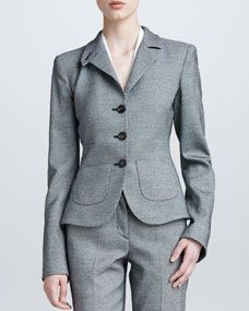 Armani Collezioni Three Button Flannel Suit Jacket, Black/White
