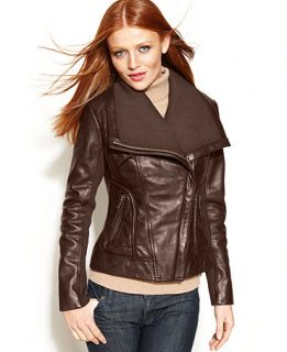 MICHAEL Michael Kors Leather Knit Trim Motorcycle Jacket   Coats   Women
