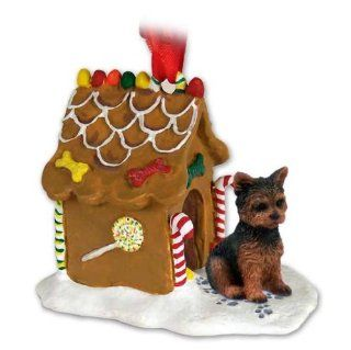 YORKSHIRE TERRIER Dog Yorkie Sporting Cut Resin GINGERBREAD HOUSE Christmas Ornament 131   Decorative Hanging Ornaments