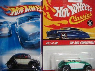 Hot Wheels Vw Beetle Set Classics Series 2 Convertible White Wall #21 '05 & The Black 5 Spoke #129 '08 {2 Pieces} scale 1/64 Collector Toys & Games