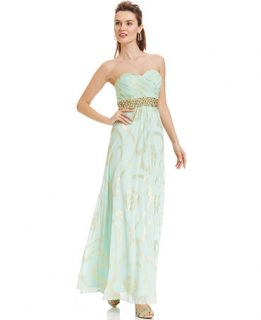 Betsy & Adam Strapless Beaded Foil Print Gown   Dresses   Women
