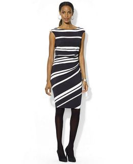 Lauren Ralph Lauren Cap Sleeve Striped Jersey Dress   Dresses   Women