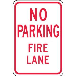 "Accuform Signs FRP126RA Engineer Grade Reflective Aluminum Parking Restriction Sign, Legend ""NO PARKING FIRE LANE"", 12"" Width x 18"" Length x 0.080"" Thickness, Red on White"